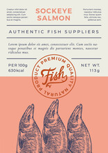 Ocean Fish Abstract Vector Packaging Design Or Label. Modern Typography Banner, Hand Drawn Sockeye Salmon Silhouette With Lettering Logo Stamp. Color Paper Background Layout. Isolated