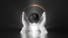 3d Render, Abstract Black Background With White Marble Hands Hold Black Stone Ball, Inside Golden Round Frame; Bright Shining Light And Reflections In The Water. Modern Minimal Scene
