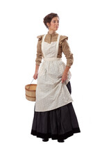 Young Prairie Woman With Apron Looking Back And Holding Skirt And A Basket Isolated On White