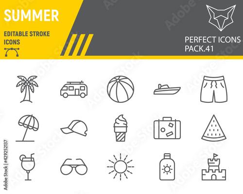 Stampa su Tela Summer line icon set, beach collection, vector graphics, logo illustrations, tra