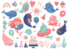 Cute Narwhals, Underwater Animals Set For Birthday Party Decoration. Cartoon Vector Illustration.