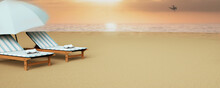 Top View Beach Umbrella With Chairs  On Blue Background. Summer Vacation Concept. 3d Rendering