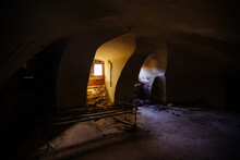 Old Vaulted Red Brick Cellar Under Abandoned Building