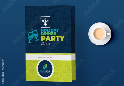 Fototapeta Holiday Dinner Party Invitation Card Design Layout obraz