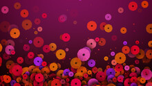Abstract Festive Red Colorful Blooming Daisy Flowers And Shiny Glitter Dust Flying Background