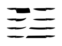 Knife Icon Set Vector Black And White