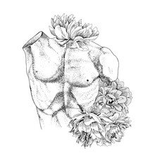 Laocoon Torso With Flowers. Vector Illustration