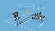 A Cartoon Bear And A Bull Play Tennis With A Ball With A Bitcoin Symbol.