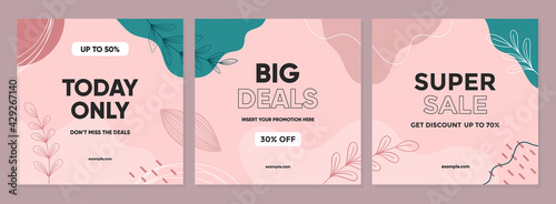 Sale square banner template for social media posts, mobile apps, banners design, web, and internet ads. Trendy abstract square template with colorful concept.