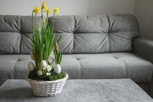 Easter Yellow Flowers Composition At Home Interior With Grey Couch In Living Room. Domestic Life. Beautiful DIY Flowers Composition.