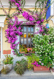 Nice window at an apartment building in Monterosso, Italy. Residential outdoor landscape.