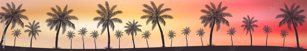 Fototapeta Realistic sea sunset on the background of palm trees - Vector