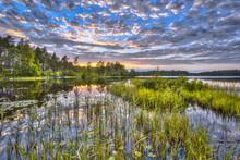 Sunset At Lake Nordvattnet In Hokensas Nature Reserve