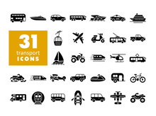 Transportation Vector Flat Glyph Icon Set Isolated