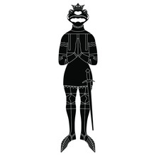 Salamander Or Frog Knight Wearing Armor, Sword And Royal Crown. Fantastic Funny Character. Black And White Silhouette. Isolated Vector Illustration.