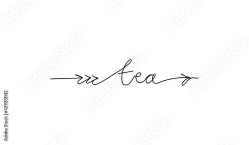 Fototapeta Continuous line drawing text with an arrow - tea. Sign showing direction. Minimalist vector lettering isolated on white background for banner, poster, and t-shirt, signpost, menu. obraz
