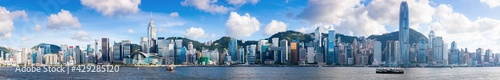 Hong Kong cityscape, extra wide panoramic skyline