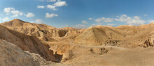 Panorama Of The Gorge Of The Dried Riverbed Of The OG River Near The Dead Sea
