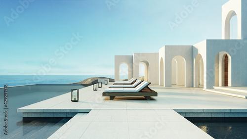 Valokuva Luxury beach and Pool villa Santorini style - 3d rendering