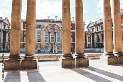 Fotografie, Tablou Wonderful Greenwich naval university building, with old columns flanking central