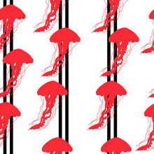 Red Silhouette Of Jellyfish On Vertical Stripes Seamless Pattern, Bright Silhouettes Of Underwater Animals On A White Background