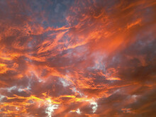 Fiery Sunset With Orange Clouds