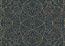 Hand-drawn Unique Abstract Symmetrical Seamless Gold Ornament On A Dark Blue Background, Fabric Texture.