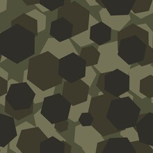 Print Camouflage Green Hexagon. Seamless Pattern, Abstraction. For Print Or Banner Or Fabric