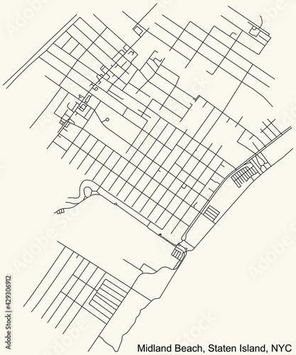 Foto Black simple detailed street roads map on vintage beige background of the quarte