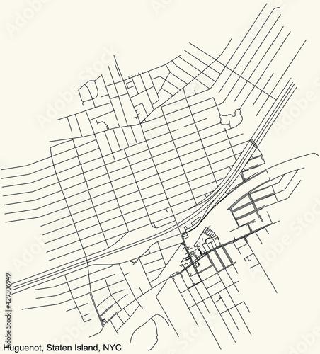 Stampa su Tela Black simple detailed street roads map on vintage beige background of the quarte