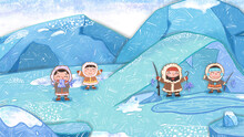 Arctic People Fishing Backdrop Cartoon Background. Cute Oil Pastel Drawing Crayon Doodle For Children Book Illustration, Poster, Or Wall Painting