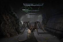 3D Illustration Of A Fantasy Giant Monster Spider.
