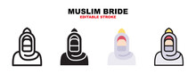 Muslim Bride Icon Set With Different Styles. Icons Designed In Filled, Outline, Flat, Glyph And Line Colored. Editable Stroke And Pixel Perfect. Can Be Used For Web, Mobile, Ui And More.