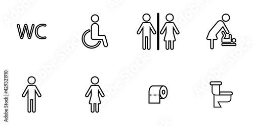 Foto Conjunto de iconos de baño o sanitario estilo línea