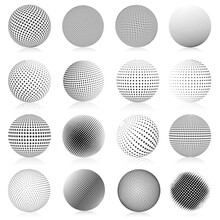 Halftone Sphere. Abstract Gradient Dotted Texture Globe Elements, Round Halftone Vector Symbols Illustration Set. Spherical Dotted Shapes