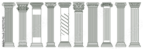 Ancient classic pillars. Greek and roman architecture pillars, historic architectural columns isolated vector illustration set. Antique classic columns - fototapety na wymiar