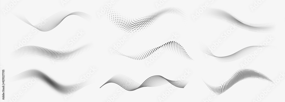 Dotted halftone waves. Abstract liquid shapes, wave effect dotted gradient texture waves isolated vector symbols set. Halftone graphic dots waves - obrazy, fototapety, plakaty