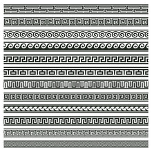 Ancient Greek Borders. Greek Roman Meander And Wave Decorative Seamless Patterns Vector Illustration Set. Greek Geometric Meander Borders