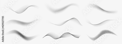 Dotted halftone waves. Abstract liquid shapes, wave effect dotted gradient texture waves isolated vector symbols set. Halftone graphic dots waves
