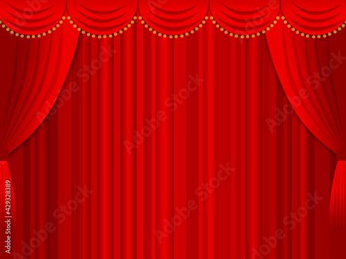 Obraz na plátně 舞台カーテンのイラスト背景