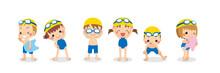 スクール水着を着てスイミングスクールの準備万端の可愛い小さな子供たちのイラスト セット