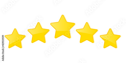 Fotografia Five stars customer product rating review flat icon for apps and websites