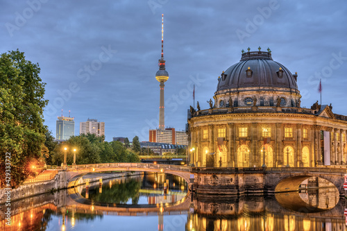 The Bode Museum, the Television Tower and the river Spree in Berlin at twilight