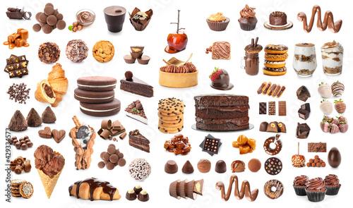 Fototapeta Different delicious desserts on white background obraz