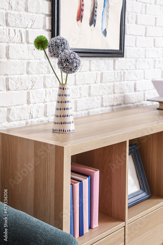 Interior of modern room with shelf unit, closeup