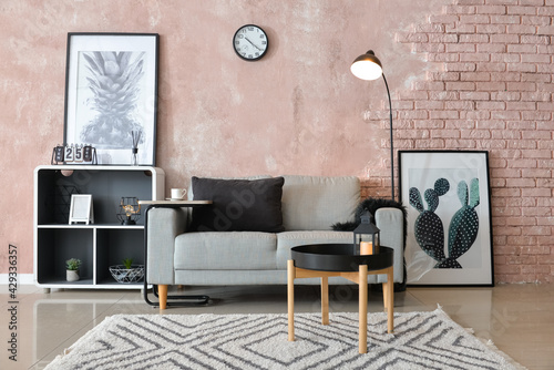 Obraz Interior of modern room with comfortable sofa - fototapety do salonu