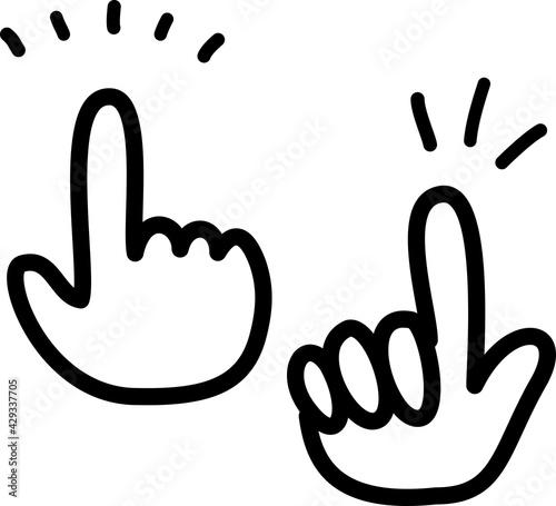 手書きの指さす手のアイコン Fototapeta
