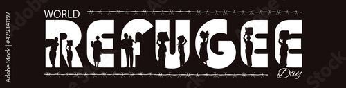 Fotografie, Obraz World Refugee day text vector illustration