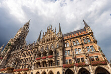 The New Town Hall Of Munich. Neue Rathaus, XIX Century Neo-Gothic Style Palace In Marienplatz, The Town Square In Historic Center. Bavaria, Germany, Europe.