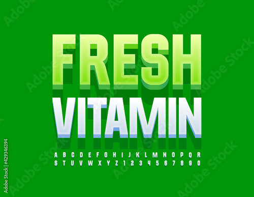 Vector modern concept Fresh Vitamins. 3D White Font. Stylish Alphabet Letters and Numbers set - fototapety na wymiar